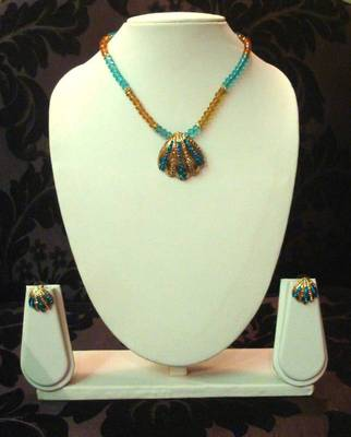 Gold Light Blue Beads Necklace Set