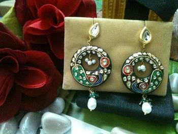 tanjore work stone earring
