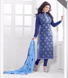 Buy Blue chanderi  embroidered unstitched salwar with dupatta collar-neck-design online