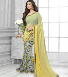 Buy Yellow Printed Weightless Georgette saree with blouse half-saree online
