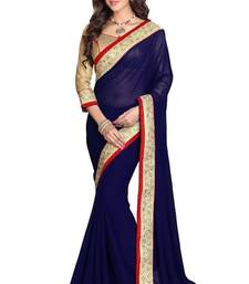 Buy Blue printed art silk sare with blouse heavy-work-saree online