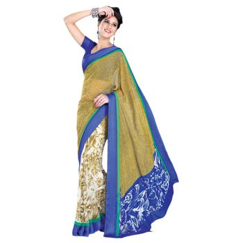 Hypnotex Georgette and Satin Patta Yellow and Blue Color Designer Dress Material Lumia152A