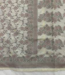 Buy Off White hand woven cotton silk saree with blouse jute-saree online