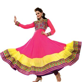 Hypnotex Faux Georgette Pink and yellow Color Designer Dress Material Feather4109