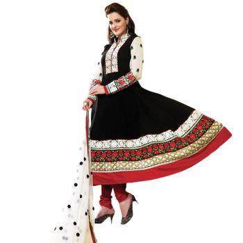 Hypnotex Faux Georgette Black Color Designer Dress Material Feather4112