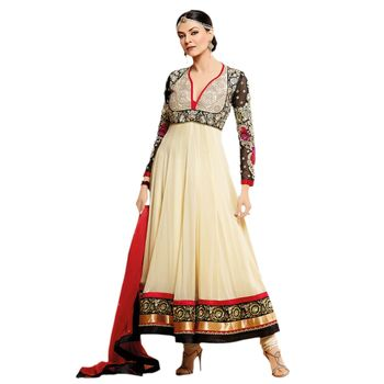 Hypnotex Georgette Cream Color Designer Dress Material MegaCeleb202
