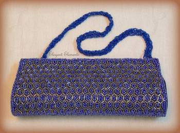 Blue  fully studded beads work clutch purse
