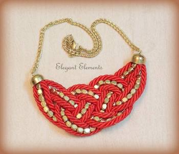 BEST DEAL - Red resham dori and golden beads necklace