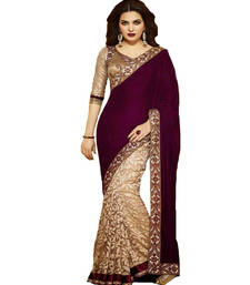 Buy Beige embroidered velvet saree with blouse velvet-saree online