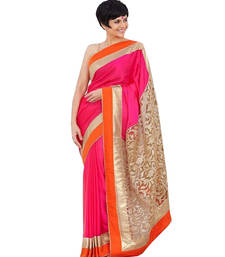 Buy Pink embroidered Brasso saree with blouse brasso-saree online
