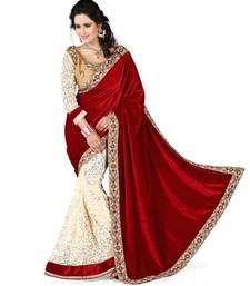 Buy red and cream and lace work and velvet and brasso and Designeer saree and new arrival saree and with blouse half-saree online
