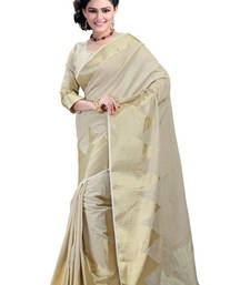 Buy white hand woven cotton saree with blouse cotton-saree online
