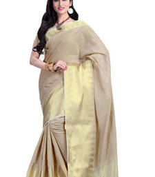 Buy Cream hand woven cotton saree with blouse cotton-saree online