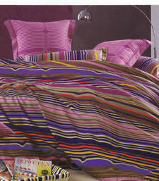 Buy Printed Luxury Flat Bedsheet - Purple Multi Stripes bed-sheet online