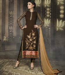 Buy Brown georgette indo semi stitched suit anarkali-salwar-kameez online