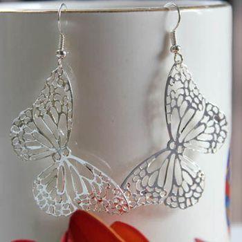 Silver Filigree Butterfly Earring