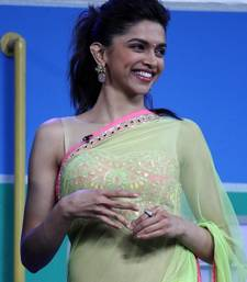 Buy Deepika Padukone Green Net Bollywood Replica Saree  Designed by Arpita Mehta Worn During Chennai Express Promotion  deepika-padukone-saree online