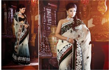 Flamboyant Off White Net Saree