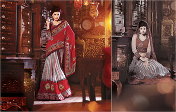 Ethnic Burgundy & Off White Faux Georgette Saree