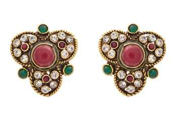 e736d3a92 JFL - Traditional Ethnic One Gram Gold Plated Red & Green Stone Austrian Diamonds  Designer Stud - JFL - Jewellery for Less - 820322