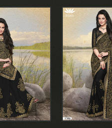 Buy Black  and  Golden embroidered Chiffon saree with blouse chiffon-saree online