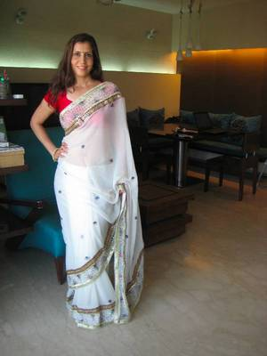 Hand embroidered white sari