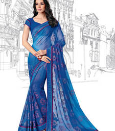Buy Blue Printed Brasso saree with blouse printed-saree online