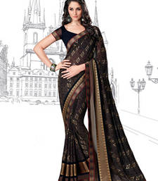 Buy Black Printed Brasso saree with blouse printed-saree online