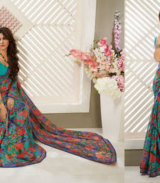 Buy Aqua Green Heavy Bordered Sarees Brasso saree with blouse heavy-work-saree online