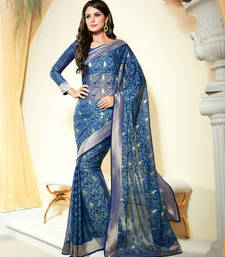 Buy Blue Heavy Bordered Saree Chiffon and Brasso saree with blouse heavy-work-saree online