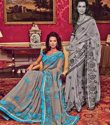 Buy Grey and Blue embroidered Georgette saree with blouse georgette-saree online