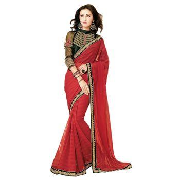 Sahiba Chiffon Red Color Designer Saree Chamcham403