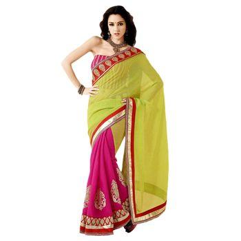 Sahiba manipuri palloo  Green and Pink Color Designer Saree Chamcham412