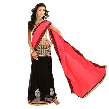 Sahiba Jacquard Palloo and Georgette  Pink and Black  Color Designer Saree Chamcham417