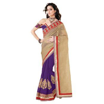 Sahiba manipuri palloo and chanderi Chiku and Purple Color Designer Saree Chamcham424