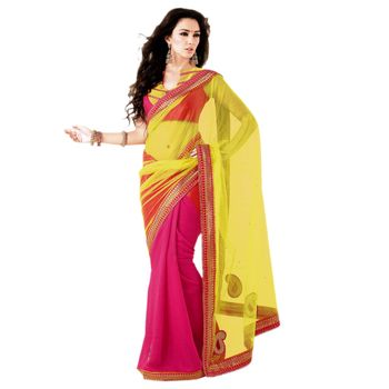 Sahiba Net Yellow and Pink Color Designer Saree Chamcham425