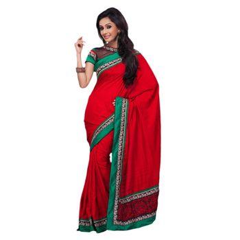 Hypnotex Art Silk Maroon Color Designer Saree Gulabi152