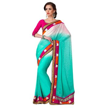 Hypnotex Satin Chiffon Jacquard Blue Color Designer Saree Gulabi156