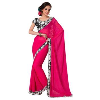 Hypnotex Faux Chiffon Pink Color Designer Saree Gulabi161