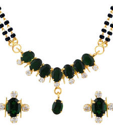 Buy Green Mangalsutra Set With Earrings mangalsutra online