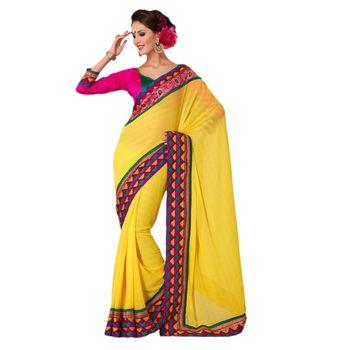 Hypnotex Faux Chiffon Yellow Color Designer Saree Gulabi168