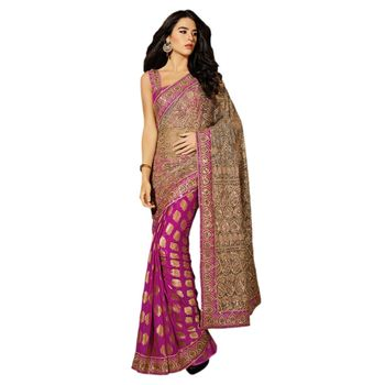 Hypnotex Net and Viscose Pink Color Designer Saree Dot9001A