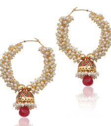 Buy Glowing pearl bali with a small red green meenakari jhumki Indian earring v6 DDS 11 danglers-drop online
