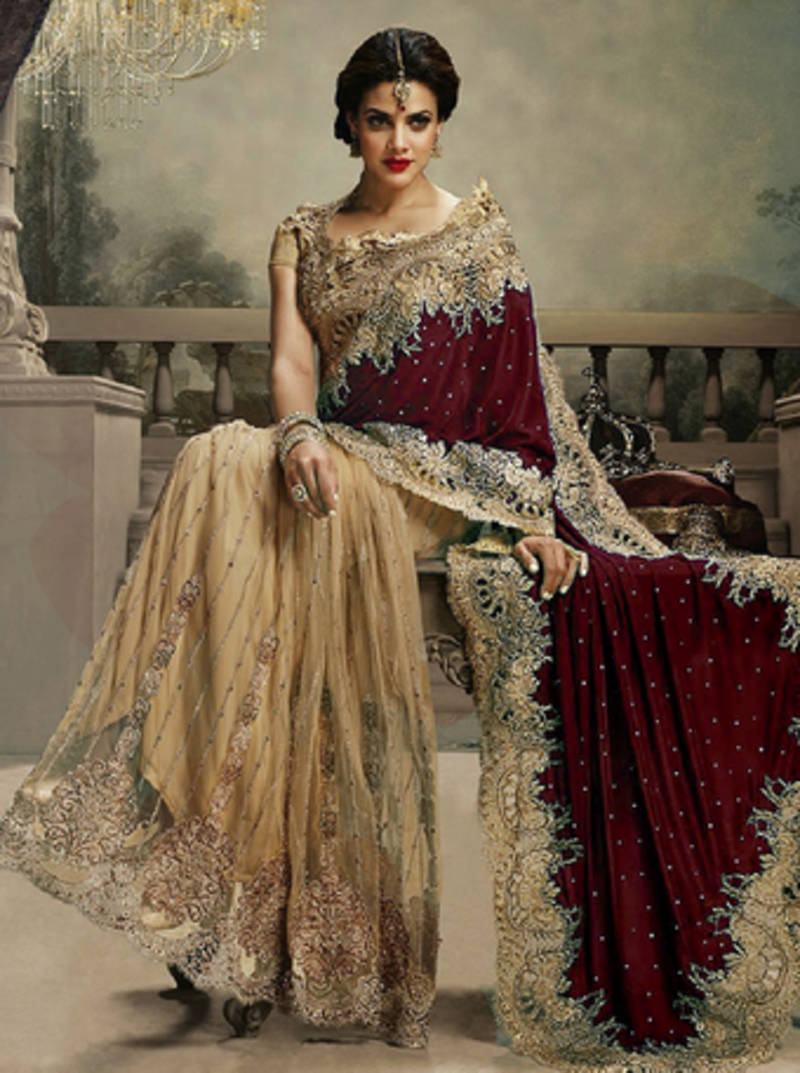 98fc066bd5 MAROON and CHIKU embroidered velvet saree with blouse - KRISHNA ...
