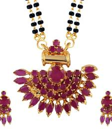 Buy Pink Mangalsutra Set With Earrings mangalsutra online