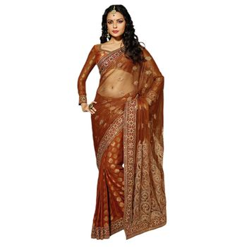 Hypnotex Net Orrange Color Designer Saree Dot9010B