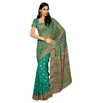 Hypnotex Net Blue Color Designer Saree Dot9012A