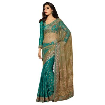 Hypnotex Net Blue Color Designer Saree Dot9017A