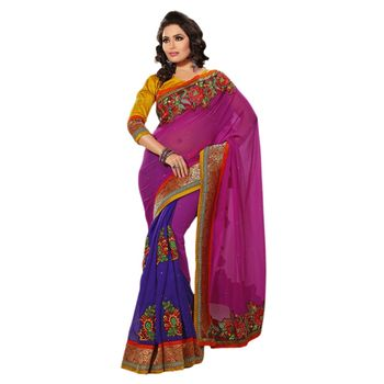 Hypnotex Jute Silk and Marble Chiffon Pallo Pink and blue Color Designer Saree Richee1098D