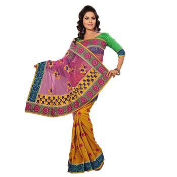 Hypnotex Manipuri Silk and Heavy Net Palloo Yellow and Pink Color Designer Saree Richee4011B